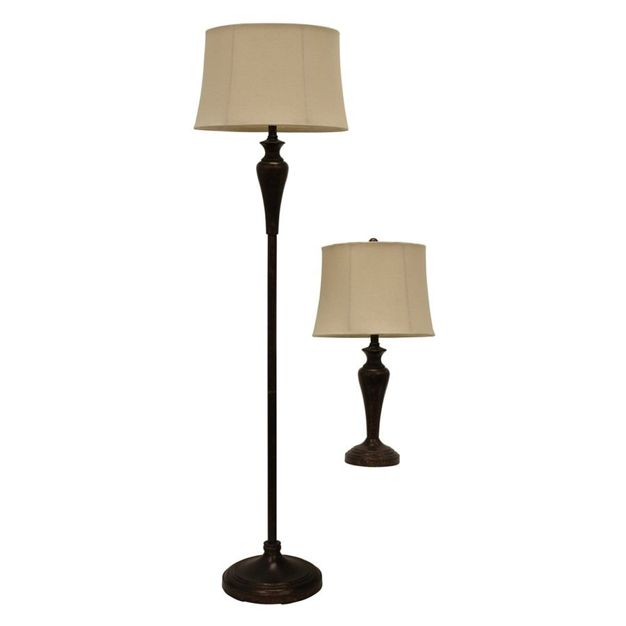 Decor Therapy 2-Piece Lamp Set with Off-White Shades