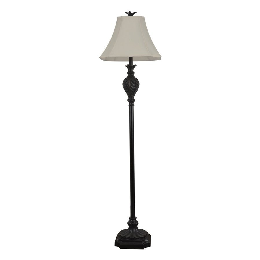 Decor Therapy 61-in 3-Way Dark Brown Indoor Floor Lamp with Fabric Shade