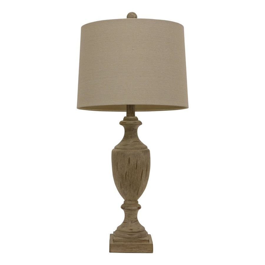 Decor Therapy 27.75-in 3-Way Sandy Pearl Indoor Table Lamp with Fabric Shade