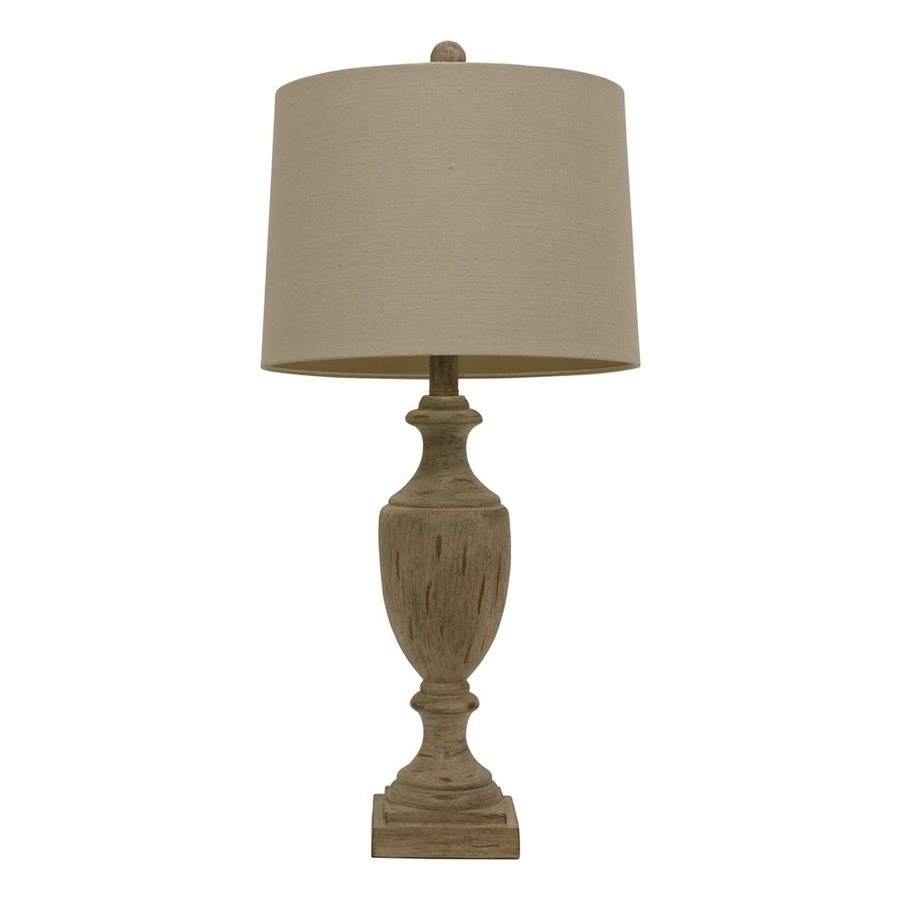 Dcor Therapy 27.75-in 3-Way Sandy Pearl Indoor Table Lamp with Fabric Shade