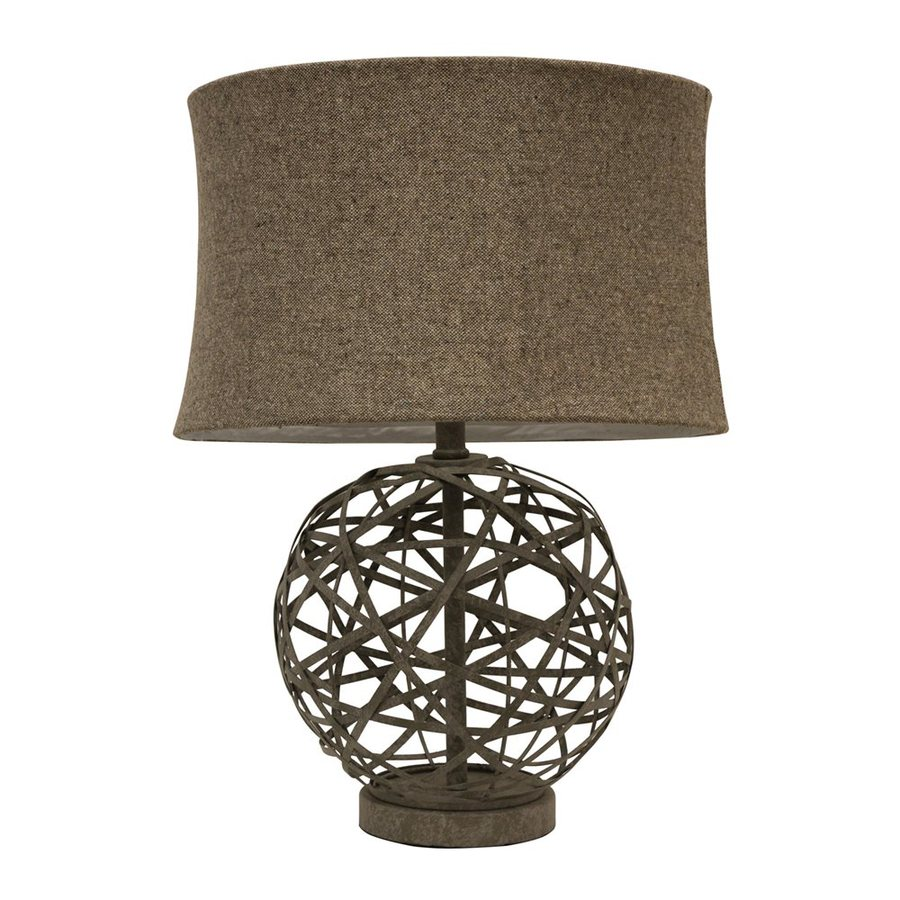 Decor Therapy 21.75-in Antique textured grey  Electrical Outlet 3-way Table Lamp with Fabric Shade (Set of 1)