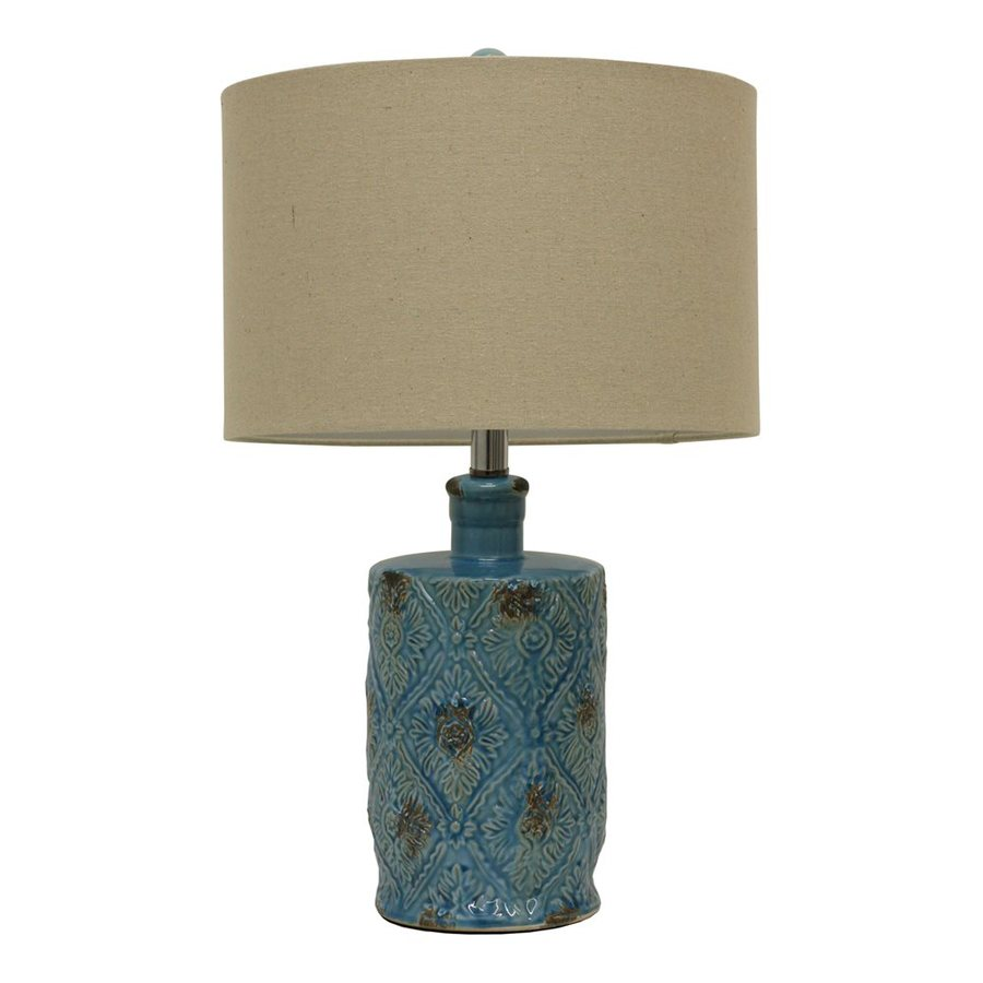 Dcor Therapy 23.25-in 3-Way Weathered Turqouise Glaze Indoor Table Lamp with Fabric Shade
