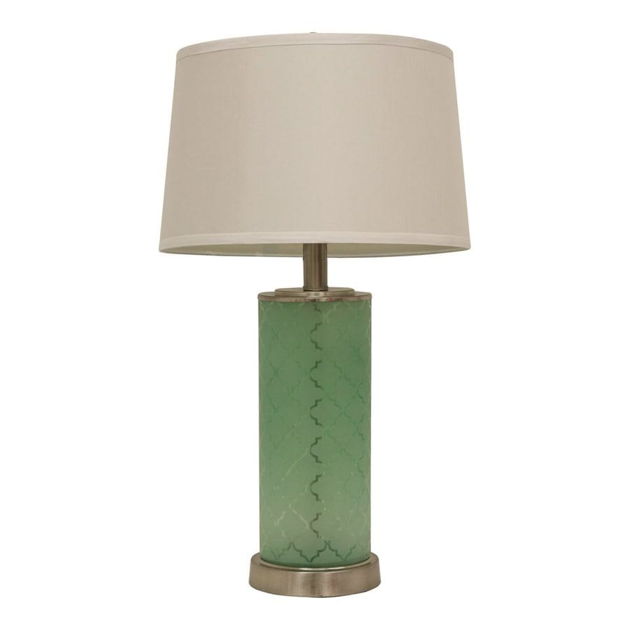 Decor Therapy Quatrefoil 28.5-in Frosted green  Electrical Outlet  Table Lamp with Fabric Shade (Set of 1)