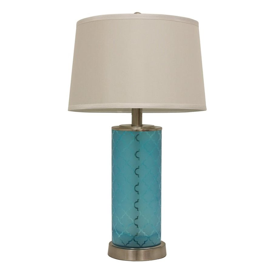 Decor Therapy Quatrefoil 28.5-in Frosted turquoise  Electrical Outlet  Table Lamp with Fabric Shade (Set of 1)
