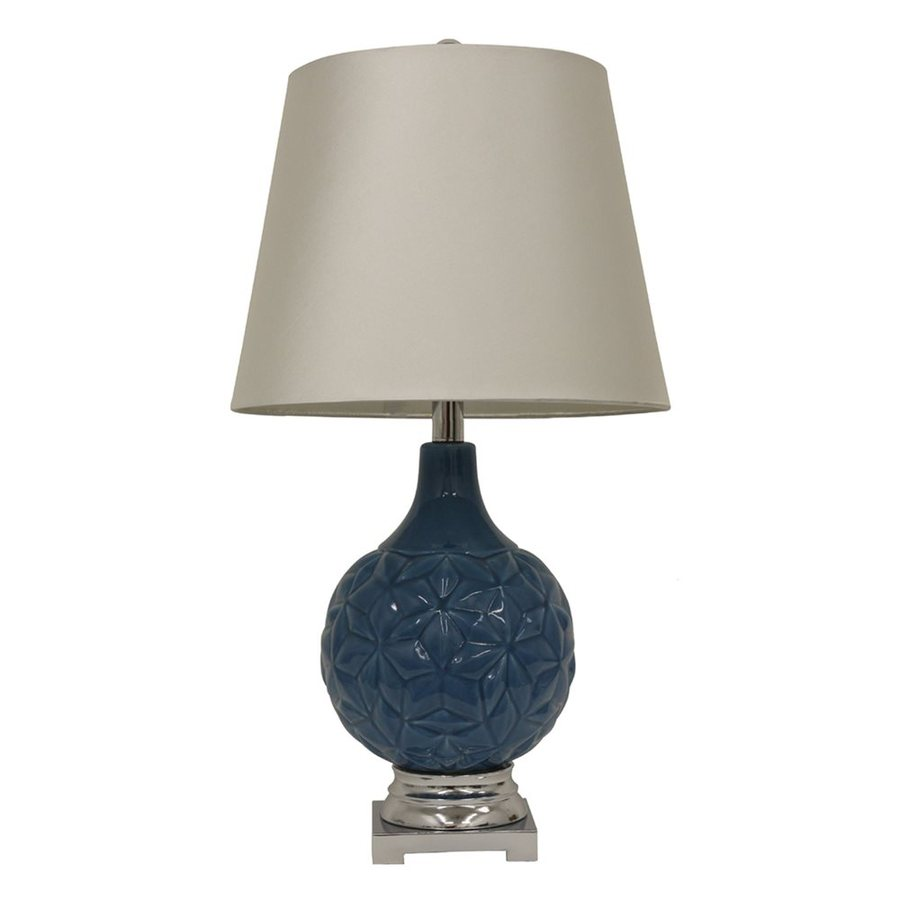Decor Therapy 26-in 3-Way Corn Flower Blue Indoor Table Lamp with Fabric Shade