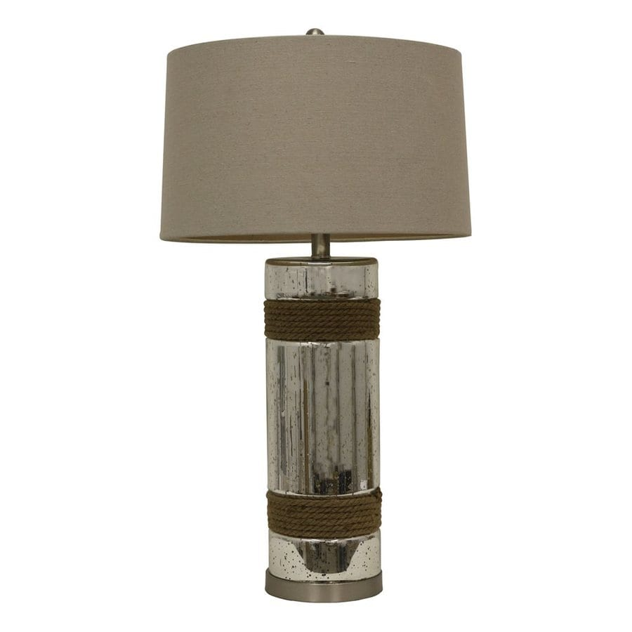 Decor Therapy 30-in 3-Way Silver Mercury Indoor Table Lamp with Fabric Shade