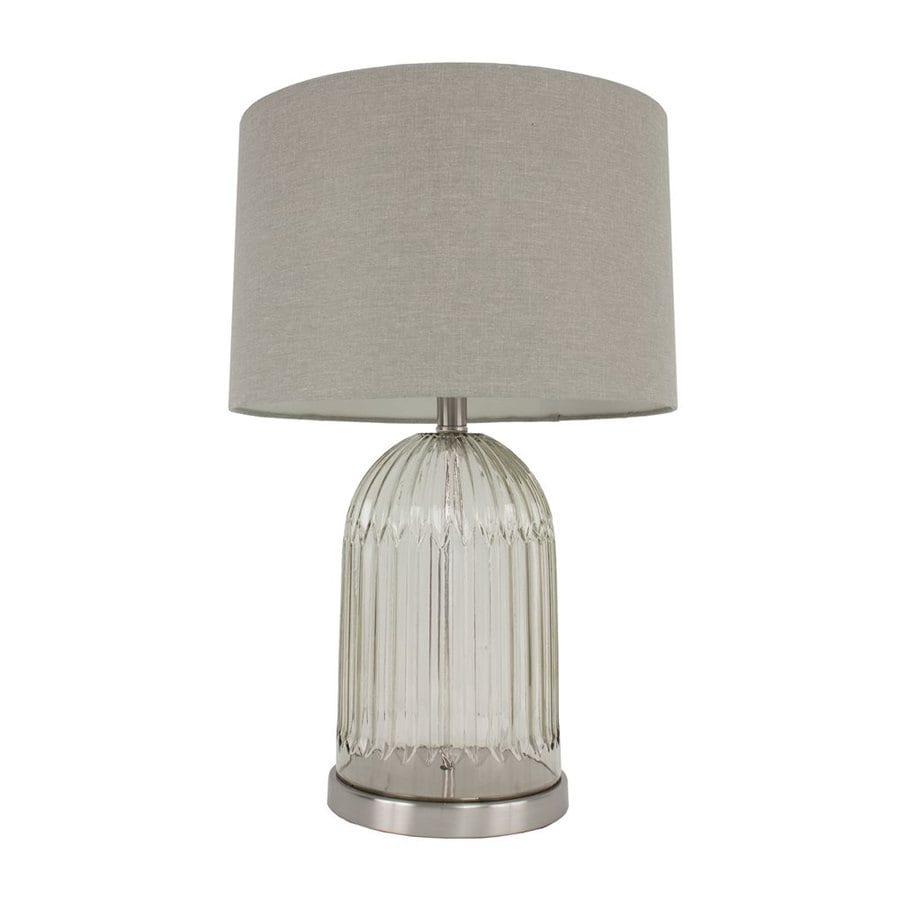 Dcor Therapy 23-in 3-Way Brushed Steel Indoor Table Lamp with Fabric Shade