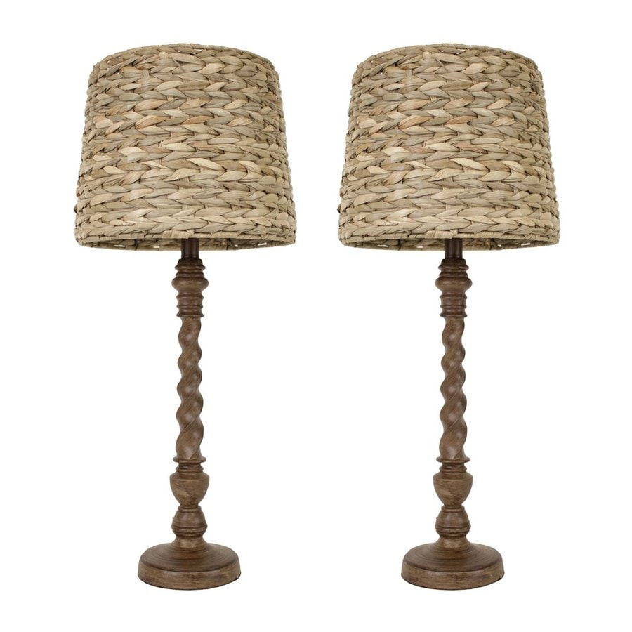 Decor Therapy Darkbo 29-in  Electrical Outlet  Buffet Table Lamp with Seagrass Shade (Set of 2)