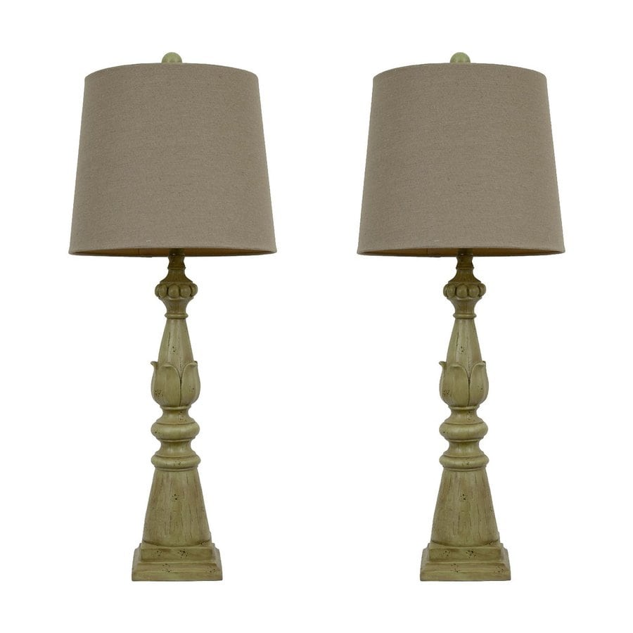 Dcor Therapy 30.5-in 3-Way Spring Green Indoor Table Lamp with Fabric Shade (Set of 2)