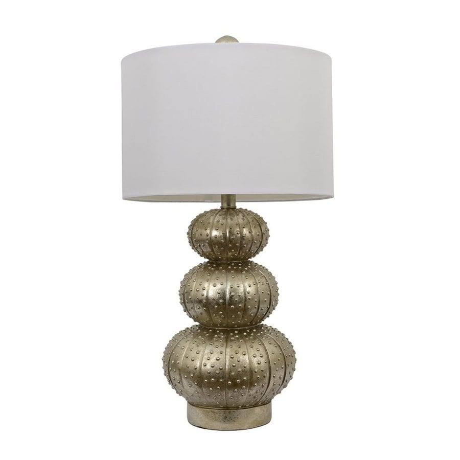 Decor Therapy 16.5-in 3-Way Silver Leaf Indoor Table Lamp with Fabric Shade