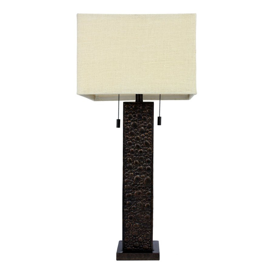 Dcor Therapy 31.5-in Bronze Indoor Table Lamp with Fabric Shade