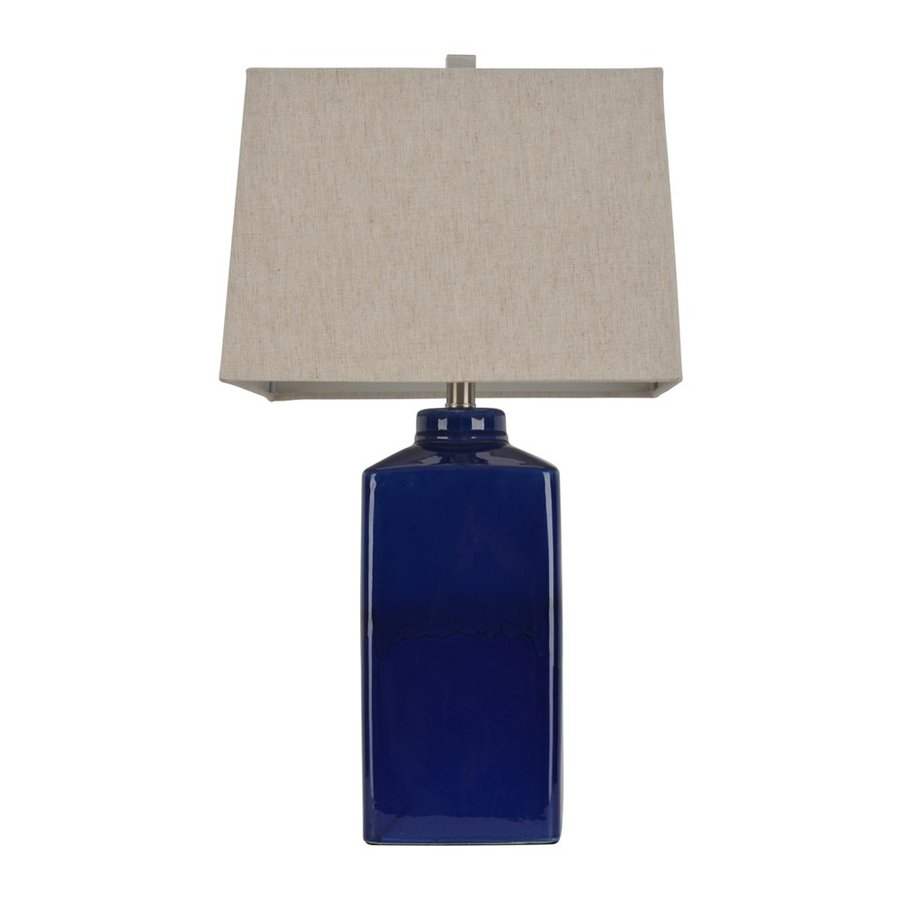 Decor Therapy 26.5-in Cobalt blue  Electrical Outlet Table Lamp with Fabric Shade (Set of 1)