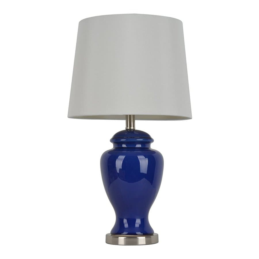 Decor Therapy 24-in 3-Way Cobalt Blue Indoor Table Lamp with Fabric Shade