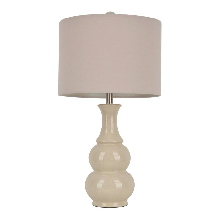 Decor Therapy 26.5-in Crackled ivory  Electrical Outlet Table Lamp with Fabric Shade (Set of 1)