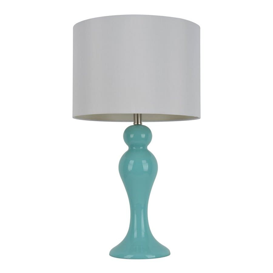 Decor Therapy 28-in Turquoise blue  Electrical Outlet Table Lamp with Fabric Shade (Set of 1)