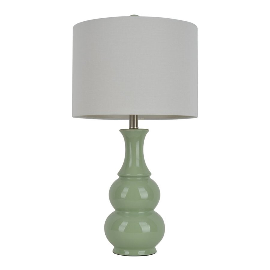 Decor Therapy 26.5-in Soft green  Electrical Outlet Table Lamp with Fabric Shade (Set of 1)