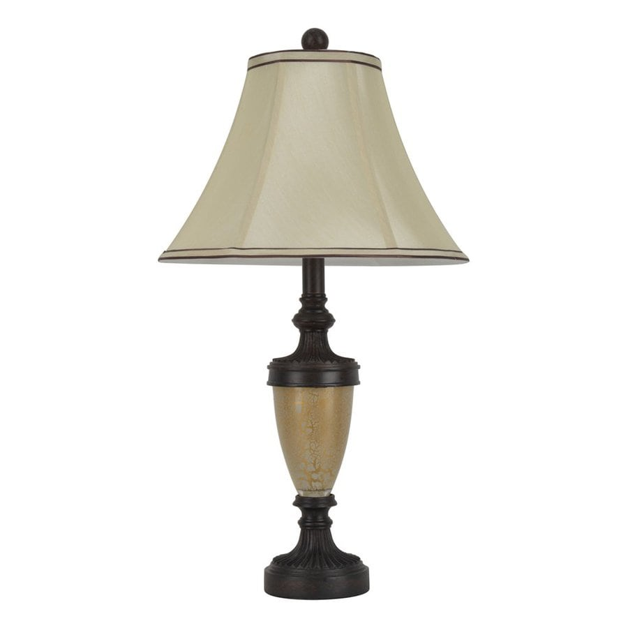 Shop decor therapy french verdi 25 in cream brown rotary for Brown table lamp shades