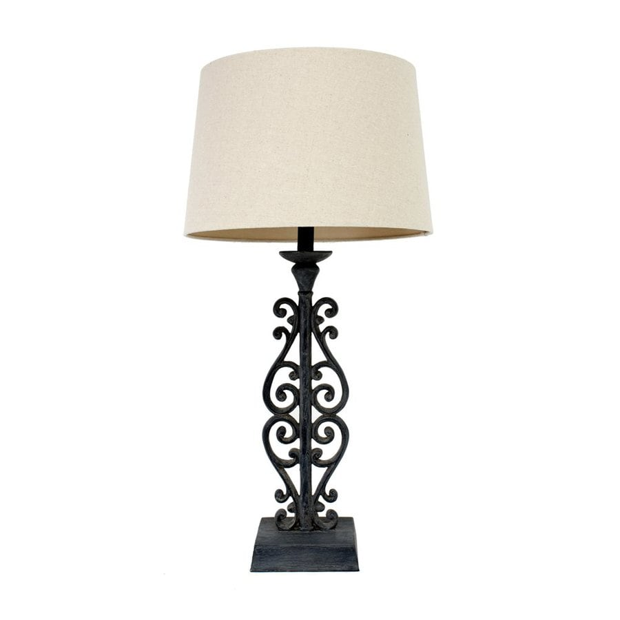 Decor Therapy 30-in Distressed iron  Electrical Outlet Table Lamp with Fabric Shade (Set of 1)