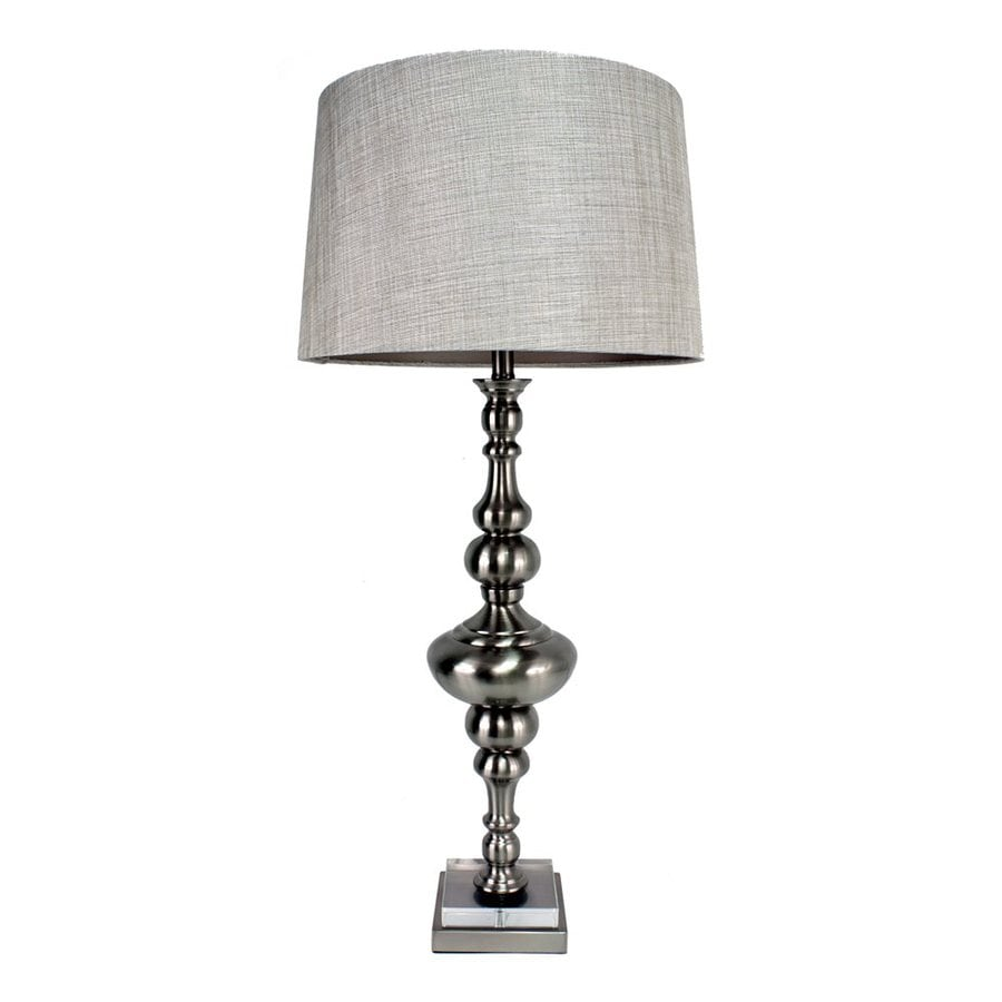Dcor Therapy 38.5-in 3-Way Brushed Steel Indoor Table Lamp with Fabric Shade
