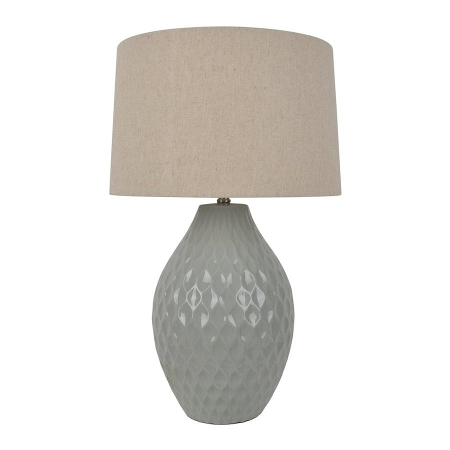 Decor Therapy 28.5-in 3-Way Glazed Grey Indoor Table Lamp with Fabric Shade