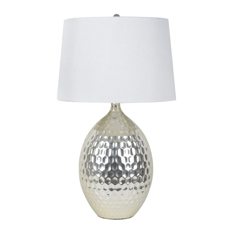 Decor Therapy 28.5-in 3-Way Silver Indoor Table Lamp with Fabric Shade