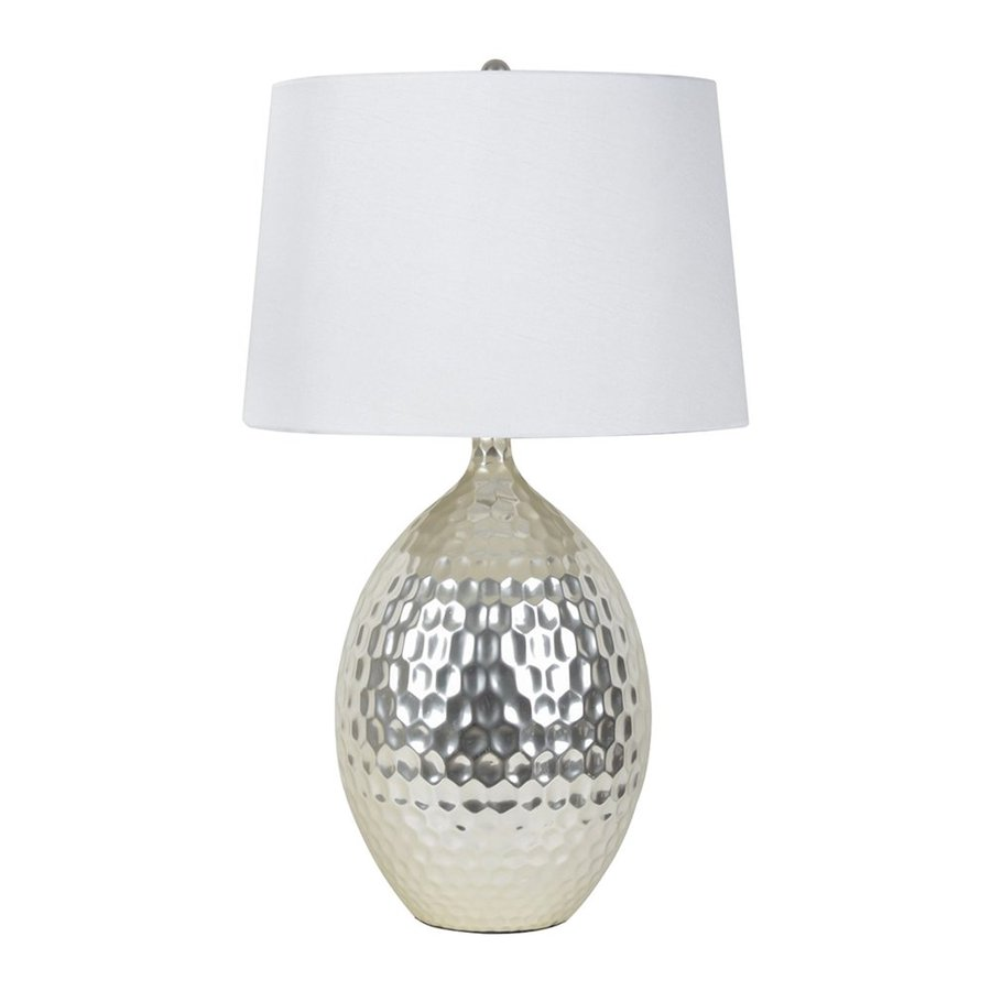 Decor Therapy 28.5-in Silver  Electrical Outlet 3-way Table Lamp with Fabric Shade (Set of 1)