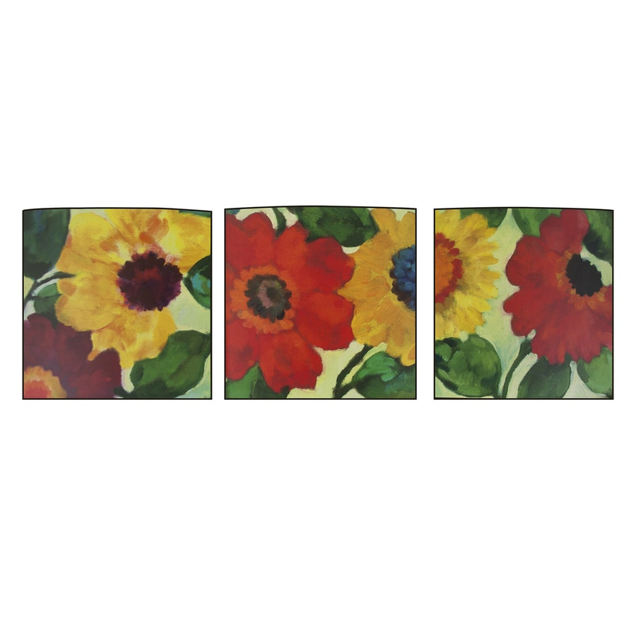 Decor Therapy 3-Piece 12-in W x 12-in H Frameless MDF Anemone Garden Print Wall Art