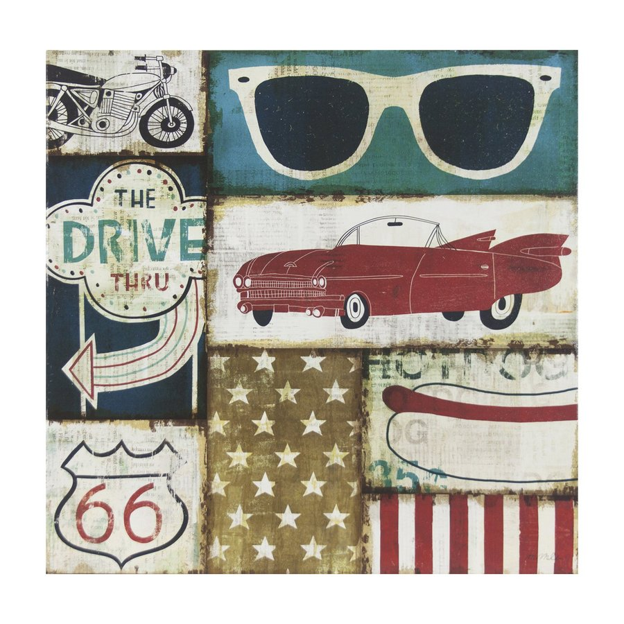 Decor Therapy 1-Piece 24-in W x 24-in H Frameless Canvas American Pop Print Wall Art