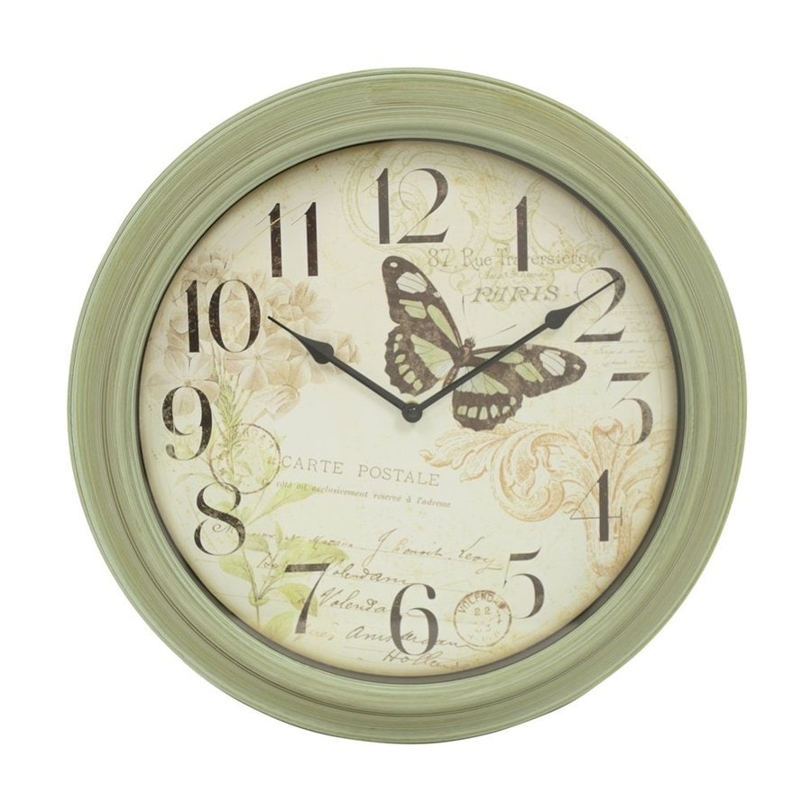 Decor Therapy Butterfly Analog Round Indoor Wall Clock