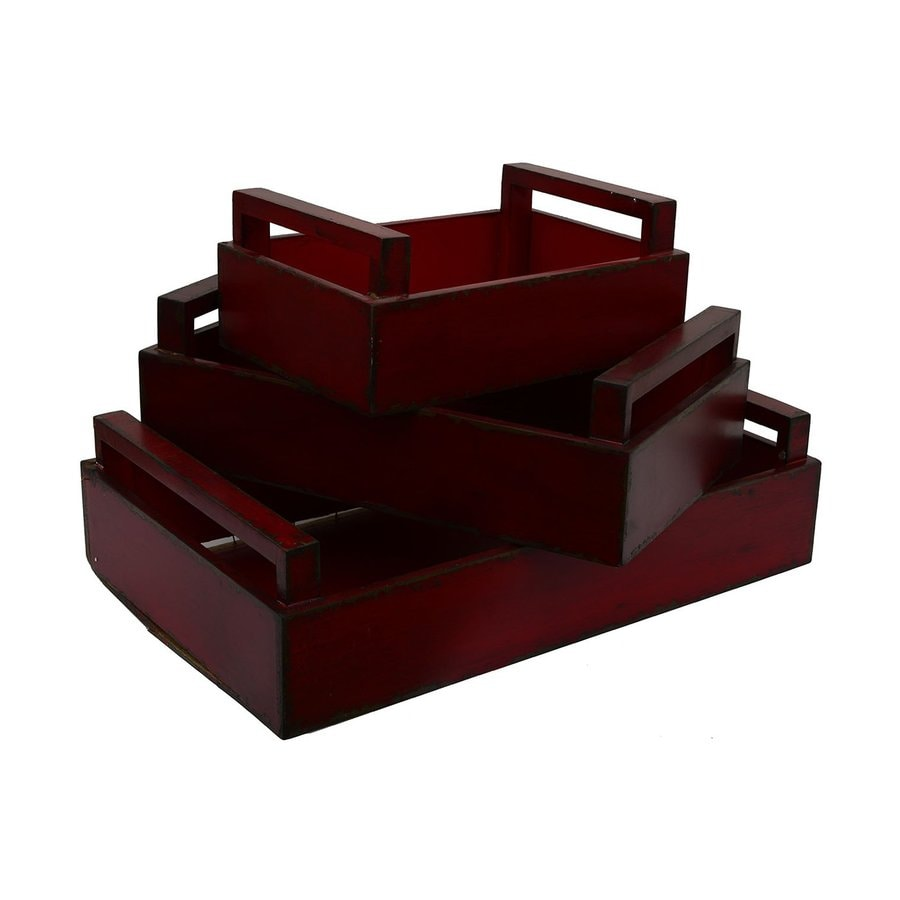 Dcor Therapy Red Distressed Wood Rectangle Serving Tray