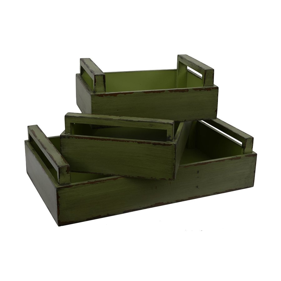 Dcor Therapy Green Distressed Wood Rectangle Serving Tray