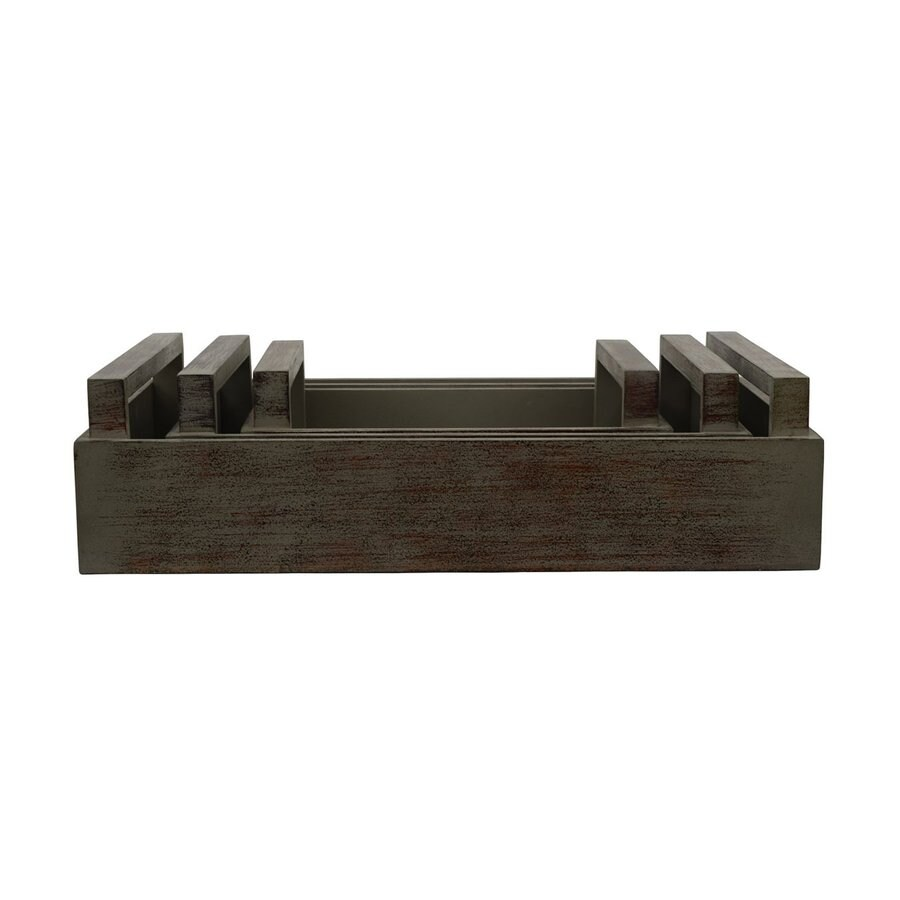 Dcor Therapy Distressed Brown Wood Rectangle Serving Tray