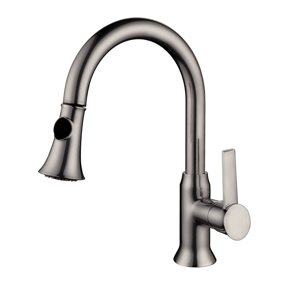 Shop Yosemite Home Decor Brushed Nickel 1 Handle Deck Mount Pull Out Kitchen Faucet At