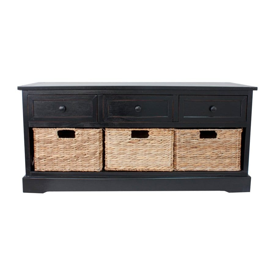Decor Therapy Montgomery Transitional Black Storage Bench