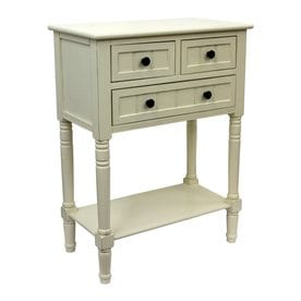 Decor Therapy Antique White Composite Country Console Table