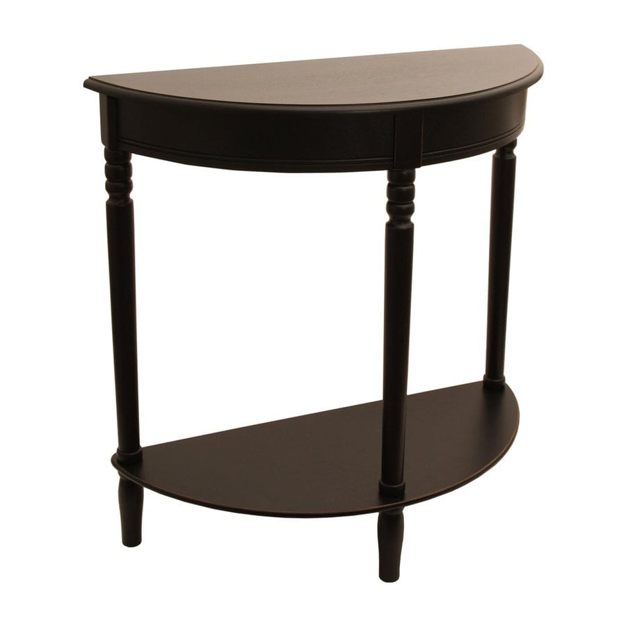 Decor Therapy Eased Edge Black Composite Half-Round Console and Sofa Table