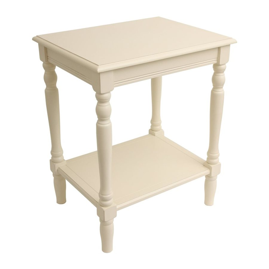 Shop decor therapy simplify antique white end table at for Decor therapy