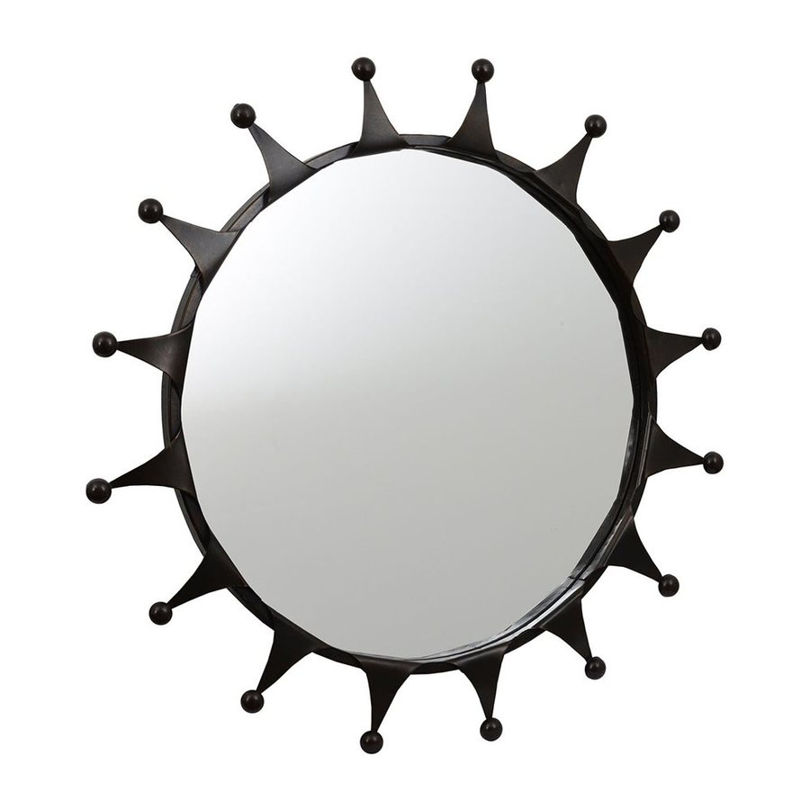 Dcor Therapy 30-in x 30-in Bronze Polished Round Framed Sunburst Wall Mirror