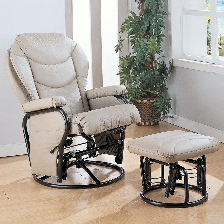 Coaster Fine Furniture Bone Faux Leather Glider Chair with Ottoman