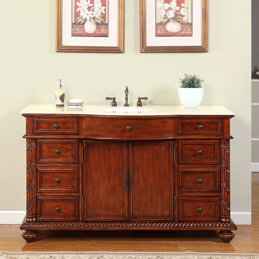 Silkroad Exclusive Victoria Cherry Undermount Single Sink Bathroom Vanity  with Natural Marble Top (Common: