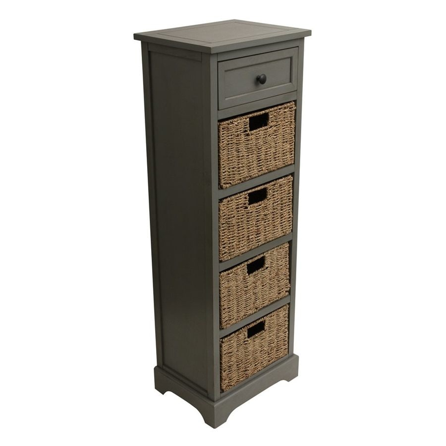 Decor Therapy Montgomery 15-in W x 44.5-in H x 11.8-in D Antique Grey Composite Freestanding Linen Cabinet