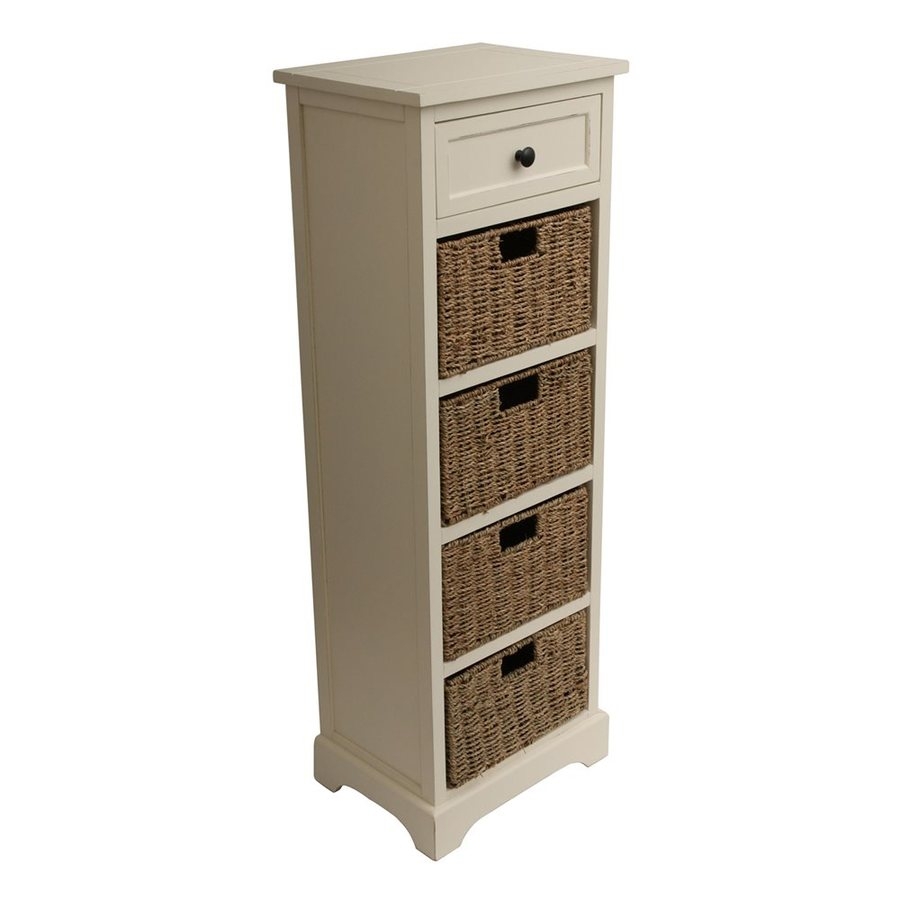 Decor Therapy Montgomery 15-in W x 44.5-in H x 11.8-in D Satin White Freestanding Linen Cabinet