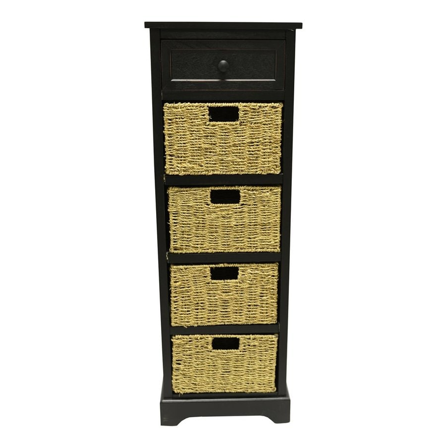 Decor Therapy Montgomery 15-in W x 44.5-in H x 11.8-in D Eased Edge Black Composite Freestanding Linen Cabinet