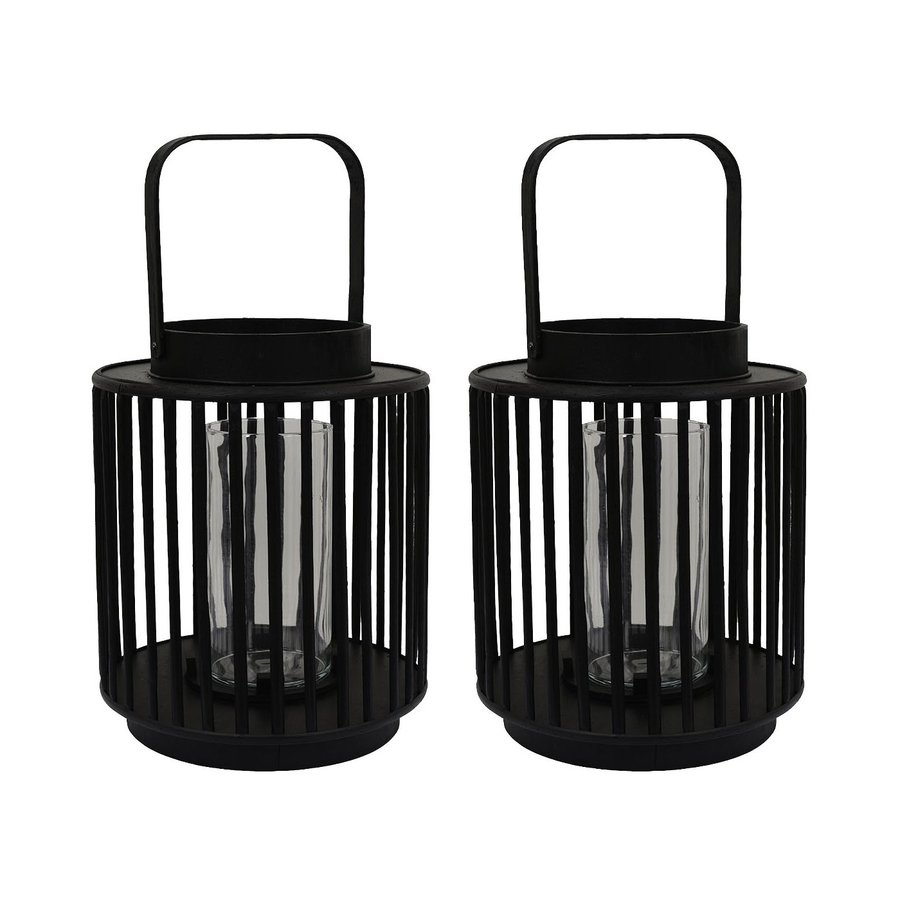 Decor Therapy Set of 2 Candle Black Wood Lantern Candle Holders