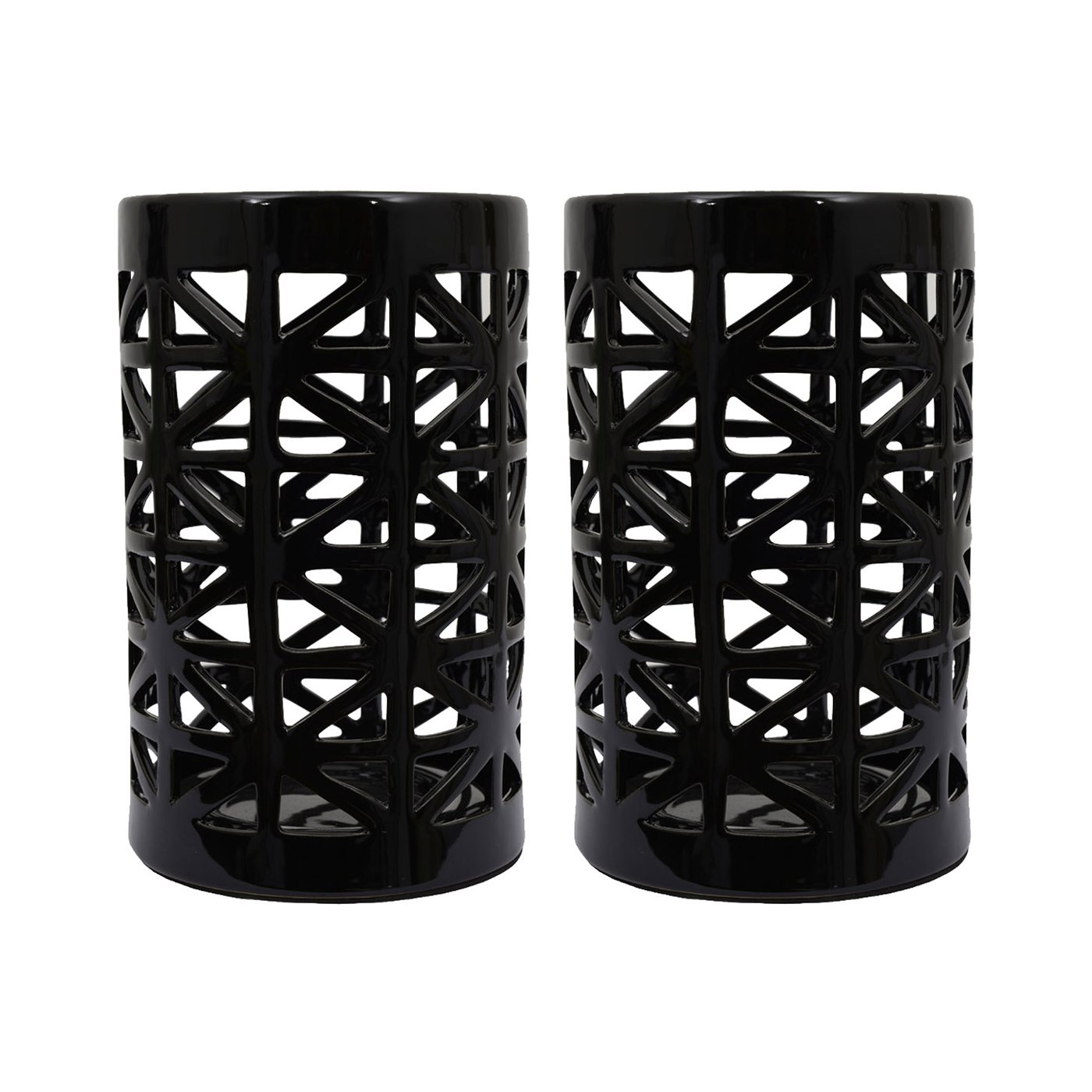Decor Therapy 2 Candle Black Ceramic Lantern Any Occasion Candle Holder