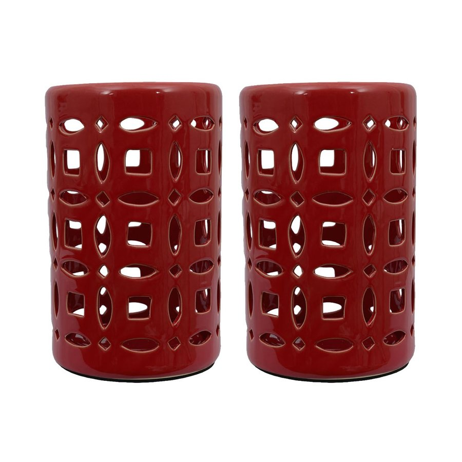 Decor Therapy 2 Candle Red Ceramic Lantern Any Occasion Candle Holder