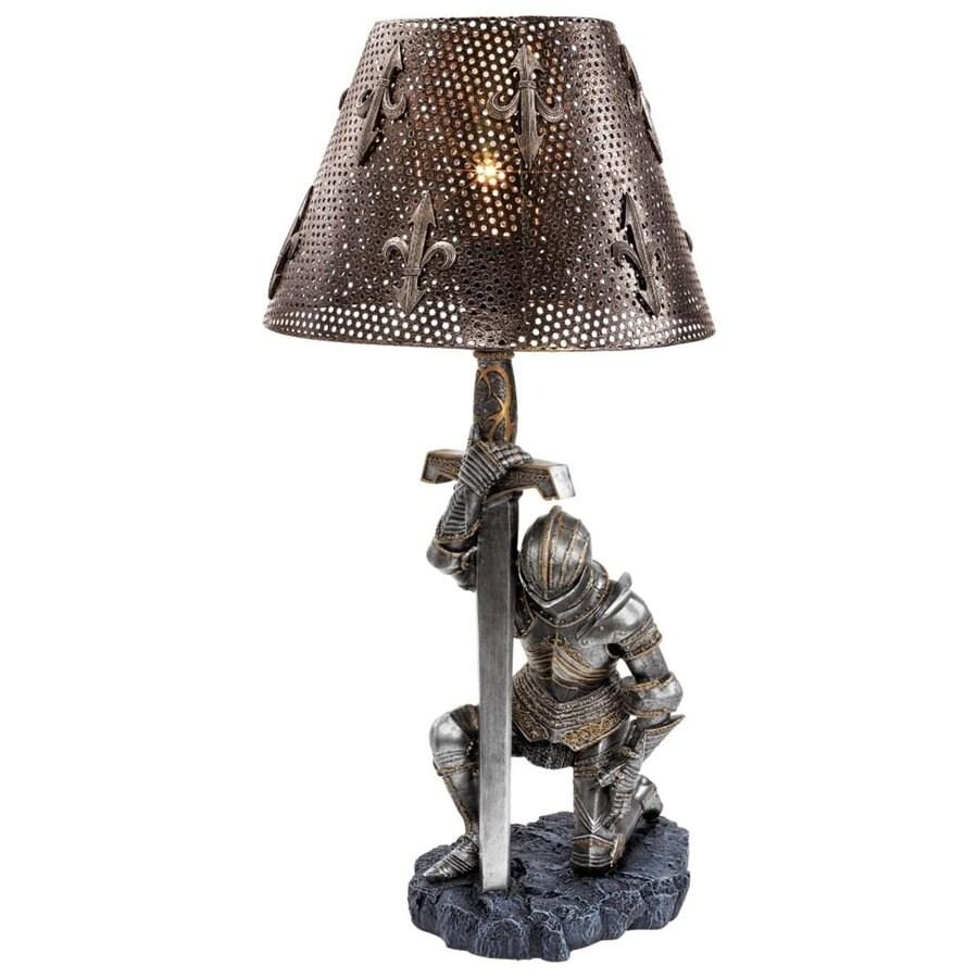 Design Toscano 22-in Pewter Table Lamp with Metal Shade