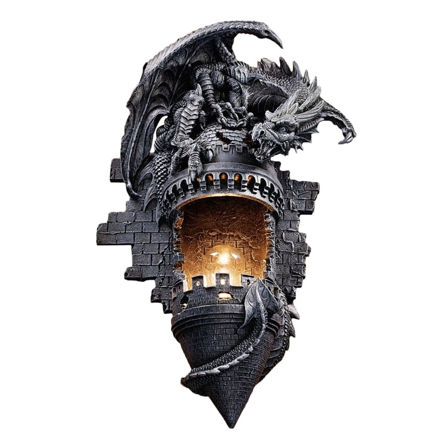Design Toscano Dragon's Castle Lair 12-in W 1-Light Gothic Stone Novelty Pocket Wall Sconce