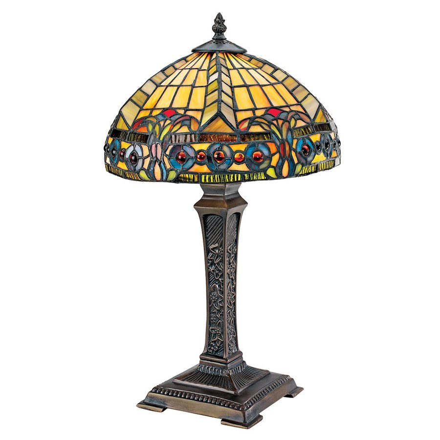 Design Toscano 19-in Bronze Table Lamp with Glass Shade