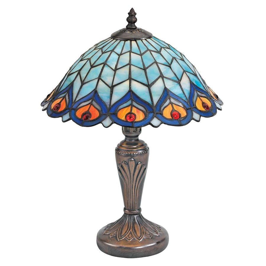 Design Toscano 16.5-in French Bronze Tiffany-Style Indoor Table Lamp with Glass Shade